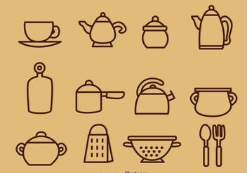 Outlined Vintage Kitchen Utensil Vector Icons - Free vector #147255