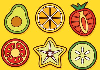 Slices Of Fruits And Vegetable Vectors - Free vector #147285
