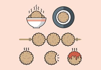 Meatball Minimal Flat Design Vector Free - Free vector #147405