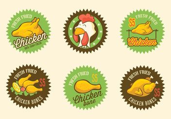 Free Retro Fried Chicken Vector Labels - vector gratuit #147485
