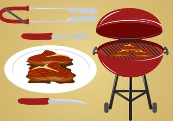 Yummy Steak Vectors - Free vector #147495