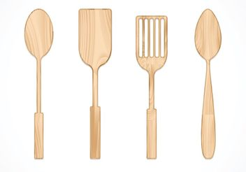 Free Vector Wooden Spoon Set - vector gratuit #147615