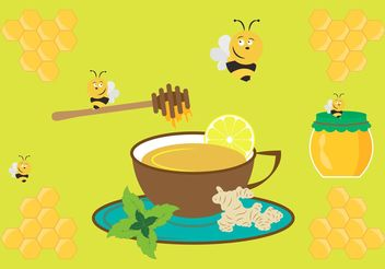 Vector Illustration with Cup of Ginger Tea and Other Ingredients - Free vector #147645