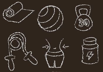 Chalk Drawn Fitness Vector Icons - Free vector #148345