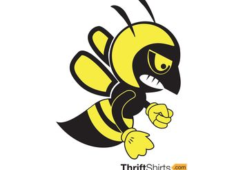 Fighting Bee Vector Mascot - бесплатный vector #148615