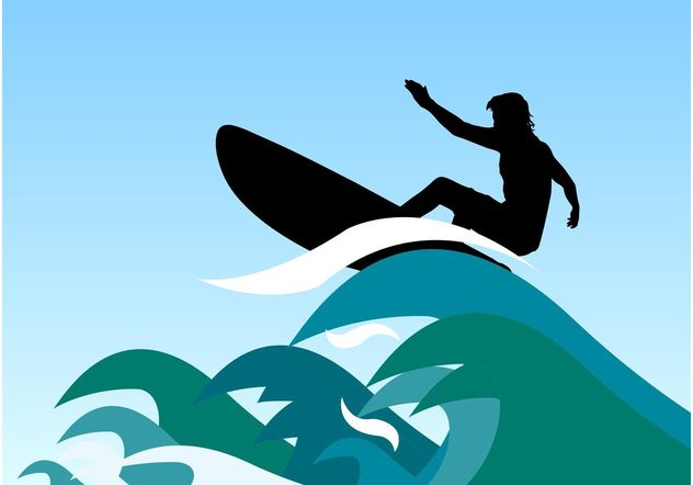 Surfer Waves Vector - Free vector #148985