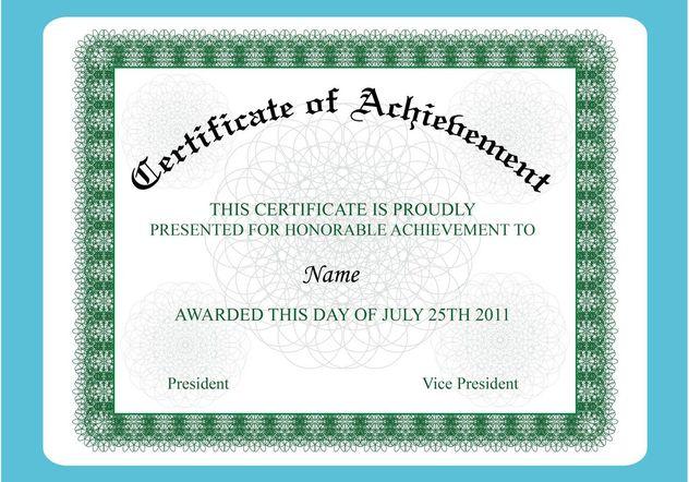 Achievement Certificate - vector #148995 gratis