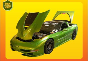 Green Corvette - Free vector #149135
