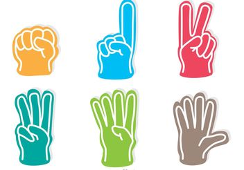 Colorful Foam Finger Icons Vectors - vector gratuit #149185