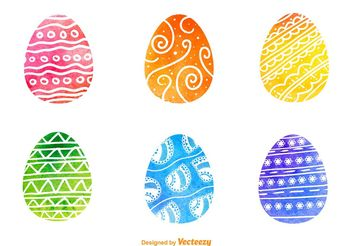 Watercolored Easter Egg Vectors - Free vector #149345