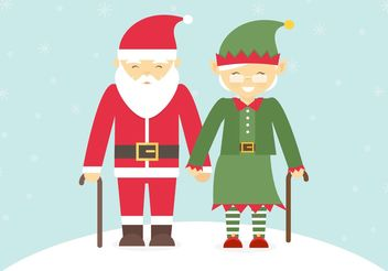 Free Senior Couple Dressed In Christmas Costumes Vector - Free vector #149355
