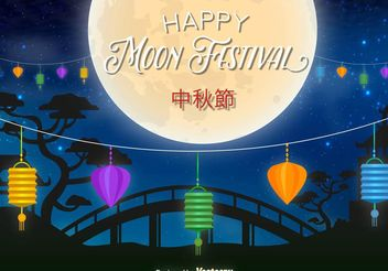 Happy Moon Festival Illustration - vector gratuit(e) #149855