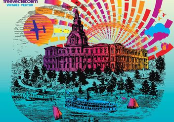Vintage Postcard - Free vector #149925