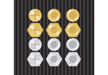 Gold & Silver Screws Vector - vector gratuit #150135