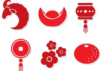 Red Chinese Lunar New Year Vectors - Free vector #150195