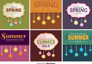 Spring and Summer Sale Signs - Free vector #150335