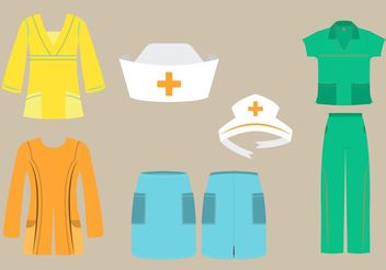 Vector Set of Nurse Scrubs and Caps in Different Fashion Styles - Kostenloses vector #150605