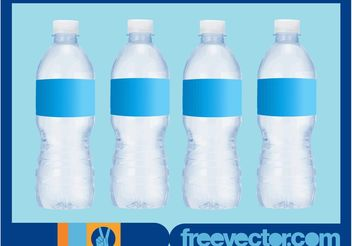Water Bottles With Blank Labels - Kostenloses vector #150975