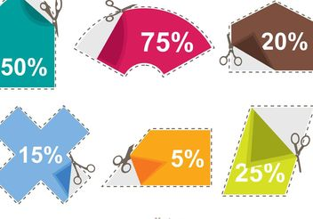 Scissor Coupon Discount Sticker Vectors - vector gratuit #151115