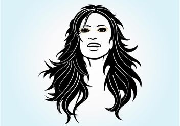 Long Haired Girl Vector - Free vector #151365