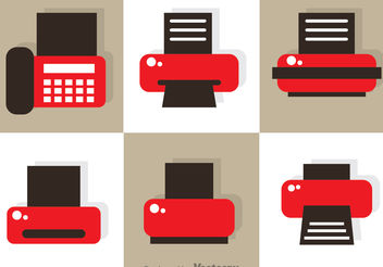 Fax And Print Icon Vectors - бесплатный vector #151915