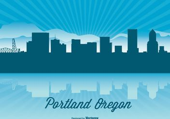 Portland Oregon Skyline Illustration - бесплатный vector #151925