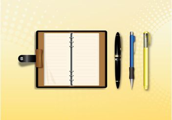 Notebook And Pens - Free vector #151945