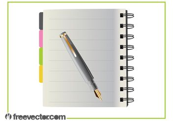 Notebook And Pen - Kostenloses vector #152175