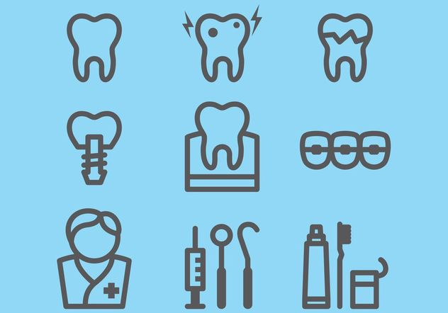 Dental Icons - Free vector #152305