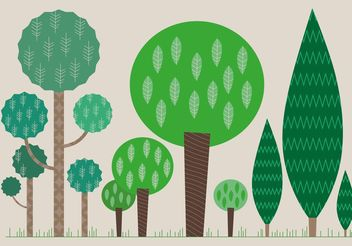 Set of Flat Tree Vectors - Free vector #152585