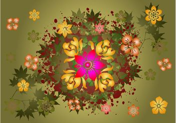Leaves And Flowers Vector - Free vector #152635
