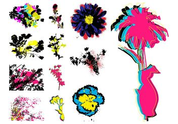 Grunge Retro Flowers - Free vector #152715