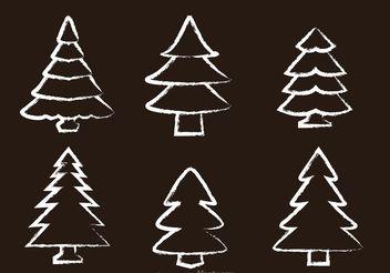 Chalk Drawn Cedar Tree Vectors - Free vector #152885
