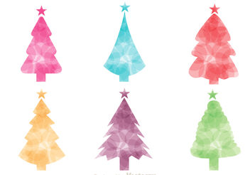Colorful Christmas Tree Silhouette Vectors - vector gratuit(e) #152935