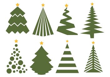 Christmas Tree Vector Set on white background - Free vector #153025