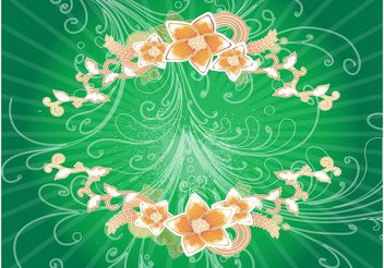 Swirls And Flowers Background - vector #153045 gratis
