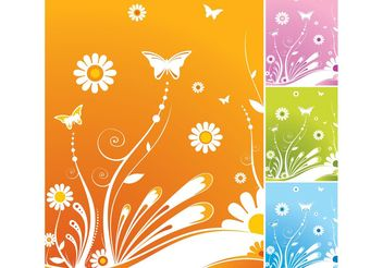 Spring Flowers Butterfly Vector - бесплатный vector #153075