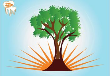 Tree And Rising Sun - Free vector #153205