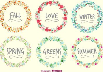 Seasons Wreaths - Free vector #153465