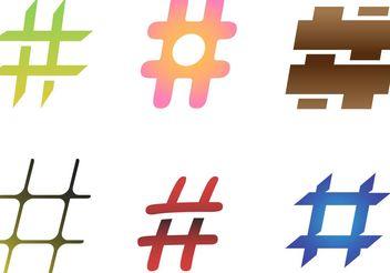 6 Free Hashtag Vectors - vector gratuit #154035