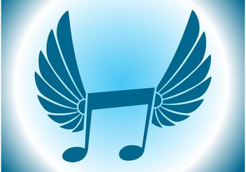 Winged Music Icon - vector #155785 gratis
