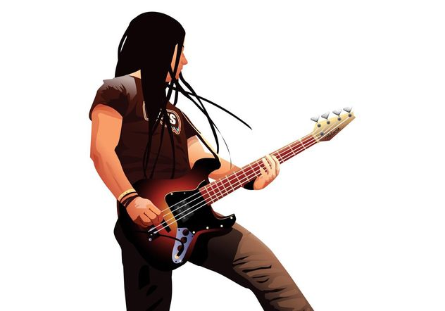 Bass Player Portrait - Free vector #156015