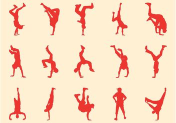 Breakdancers Silhouettes - Free vector #156355