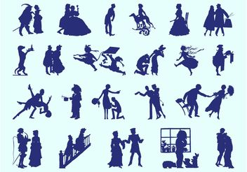 Retro People Silhouettes - Free vector #156375