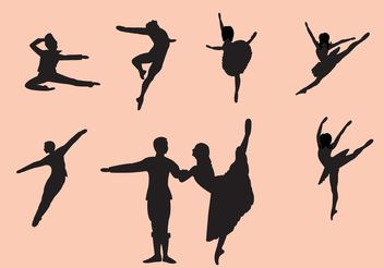 Set of Nutcracker Ballet Dancer Silhouettes - Free vector #156405