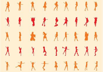 Happy Girls Silhouettes - vector gratuit #156425
