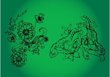 Flower Drawings - Free vector #156825