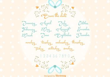 Vector Save the Date Wedding Lettering - vector gratuit #157035