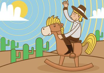 Rocking Horse with Kid Cowboy - Free vector #157185