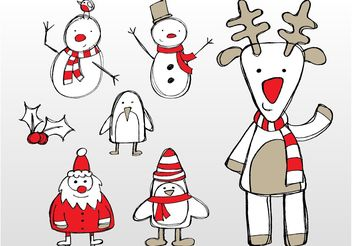 Christmas Doodles - Free vector #157305